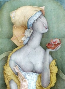 Sofia Mosiadz, peinture Femme avec une grenade