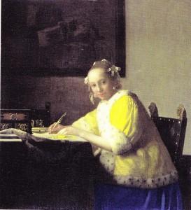 Huile sur toile de Vermeer van Delft, dame écrivant une lettre