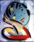 Tableau du peintre Geno : portrait de femme triste