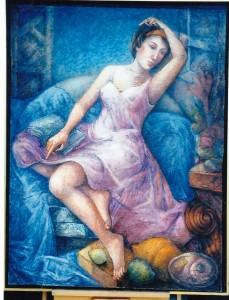 Aquarelle de Sofia Mosadz, muse de la poésie